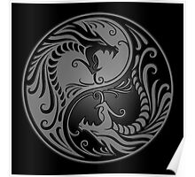 Yin Yang Dragons Gray and Black Poster