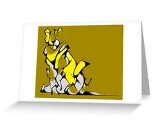 Yellow Voltron Lion Cubist Greeting Card