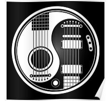 White and Black Acoustic Electric Guitars Yin Yang Poster