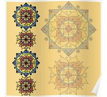 Yellow pattern with mandalas Poster