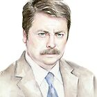 The Swanson Watercolor Portrait by OlechkaDesign
