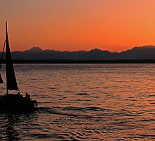 Sunset on Puget Sound near Seattle, Washington by Jeff Hathaway