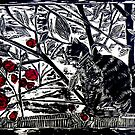 Poppy on the Deck-Woodcut by Belinda &quot;BillyLee&quot; NYE (Printmaker)