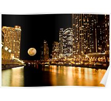 Chicago River Moon Poster