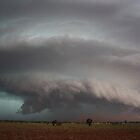 Supercell with developing microburst and raised dust by jdeguara