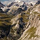 Scenic view of dolomite alps by peterwey