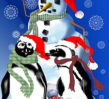 Christmas Penquin and Snowman by Lotacats
