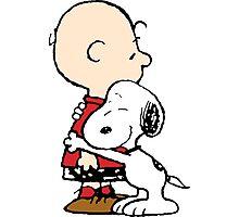 Charlie hugs Snoopy Photographic Print