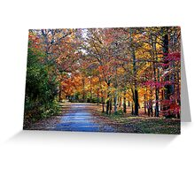 Fall Walk on Country Lane Greeting Card