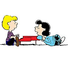 Lucy and Schroeder Peanuts Photographic Print