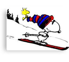 Snoopy on snow Canvas Print