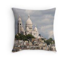 The Sacre Coeur church in Montmartre, Paris, France Throw Pillow