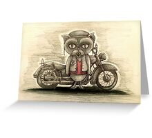 grumpy biker cat Greeting Card