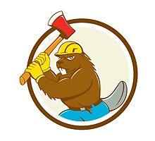 Beaver Lumberjack Wielding Ax Circle Cartoon by patrimonio
