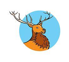 Red Stag Deer Head Circle Cartoon by patrimonio