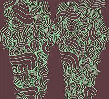 ACID PEACOCK Mint Ice Cream: Brown/Mint Green Line Design Leggings by JMTolman