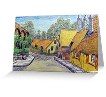 233 - THATCHED COTTAGES AT SHANKLIN, I.O.W. - DAVE EDWARDS - COLOURED PENCILS - 2008 Greeting Card