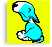 Innocent English Bull Terrier Puppy Aqua and White Canvas Print