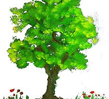 Tree of life and naughty pansies. by Oluwaseyi Alade