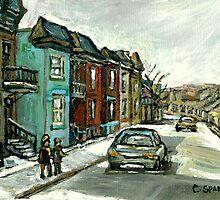 HISTORICAL VERDUN STREET RUE MAY VANISHING MONTREAL by Carole  Spandau