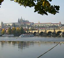 Prague With The Carolus Bridge Across The Danube by HELUA