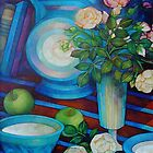 still-life with apples and roses by elisabetta trevisan