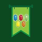BANNER CREST SIGIL Green with 5 jewels rupees Blue, red, green and orange by jazzydevil