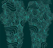 ACID PEACOCK Lucky Clover: Dark Emerald/Teal Line Design Leggings by JMTolman