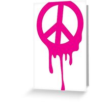 Dripping peace sign in hot pink Greeting Card