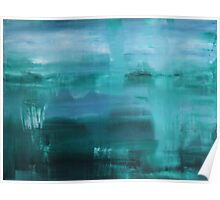 Through the Veil - Abstract Ocean Turquoise Blue Poster