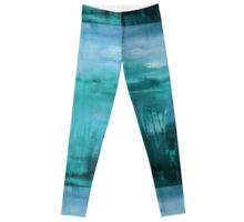 Through the Veil - Abstract Ocean Turquoise Blue Leggings