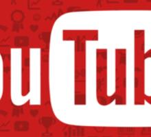 YouTube Full Logo - Full White on Pattern Red Sticker