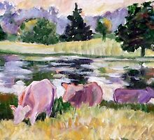Simple Cows at Pond by JKHowsarePearl