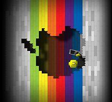Rainbow Blocks Retro Apple Logo iPad Case by Alisdair Binning