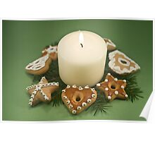 Candle and Christmas Cookies Poster