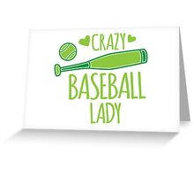 Crazy Baseball Lady in green Greeting Card