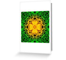 """""""Spirit of India: Cross-Column"""" in grass green and yellow Greeting Card"""