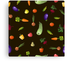 with growing vegetables - beetroot, potato, carrot, garlic and onion Canvas Print