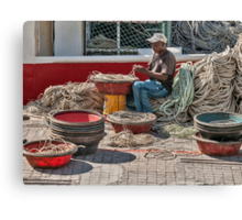 Working with rope Canvas Print