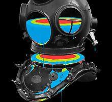 Rainbow in scuba helmet by Dakroa