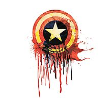 Captain America Bleeding Shield Photographic Print