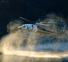 Fully loaded. L.A. County fire helicopter fill water at Lauro Reservoir in Santa Barbara, CA in an effort to extinquish the Tea Fire by Eyal Nahmias