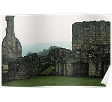 Fireplace in buildings Bylands Abbey North Yorkshire England Elite 198406020033 Poster