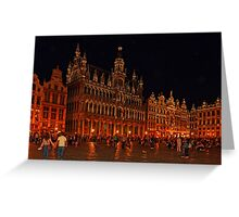 Grand Place at Night, Brussels, Belgium Greeting Card