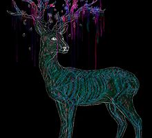 Stag - Deer watercolour flowers  by TheAlphaLycan