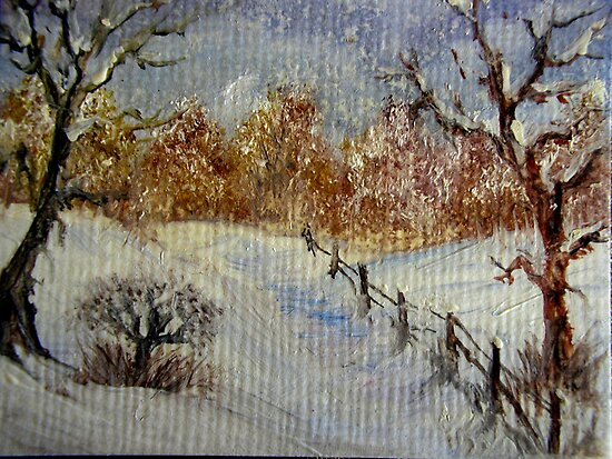 Miniature Snowscape - Oil painting by Avril Brand