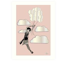 Floating Flapper Gatsby Girl in pink and pearl Art Print