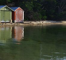 Coles Bay Boatsheds by Greg Eyre