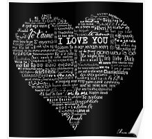 Typographic multi language I love you heart Poster