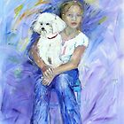 Kelsey and her new dog Mimi by Virginia McGowan